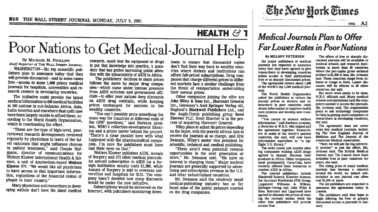 news clipping from the washington post and new york times covering the launch of hinari
